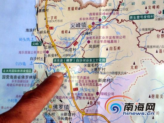 海南乐东县的旅游地图也把白沙河谷作为旅游景点清晰地标注出来。(南海网记者李晓梅摄)