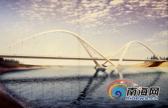万宁石梅湾至大花角旅游公路,图为太阳河桥效果图
