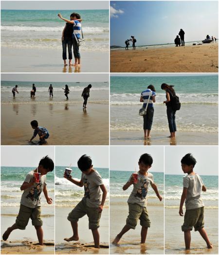 在海边,每个人都像长不大小孩。无忧无虑地本性任其尽情释放。