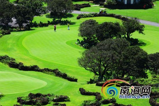 海南的气候和空气全国一流,许多球友都赞叹海南是打球和度假的绝佳之地。图为高尔夫球爱好者在海口观澜湖打球。(南海网记者张茂摄)