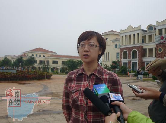 澄迈县旅游发展委员会副主任 汤桠斐 接受记者采访