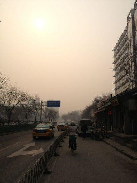 网友拍摄的北京雾霾