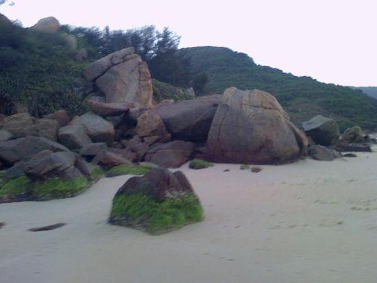 早上溜了圈海滩,发现了这块绿色的大石头,哈哈