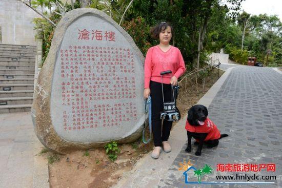 """导盲犬""""珍尼""""和主人一起在森林公园合影"""