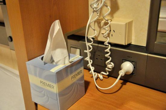 房间内的电压包括115伏和220伏两种,国内的手机和电脑充电器一般都可以使用,若不能用,可以到服务台领取转换插头。