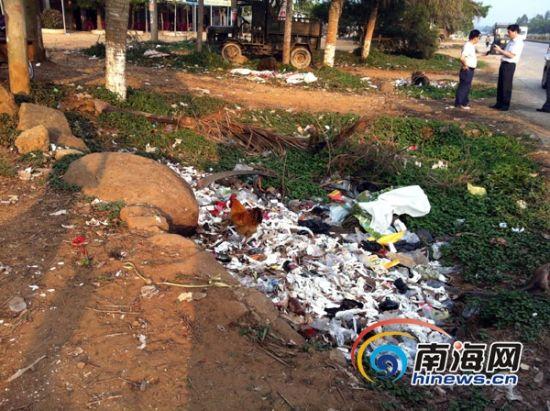 儋州市木棠镇经济开发区路口有成堆垃圾。(通讯员谢曦摄)
