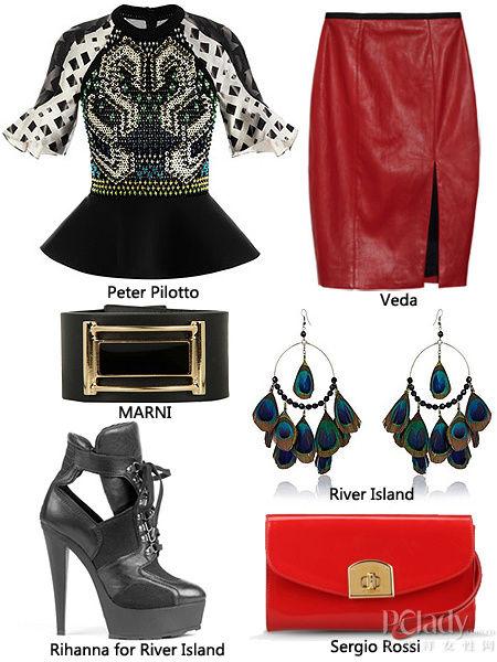红色包臀裙