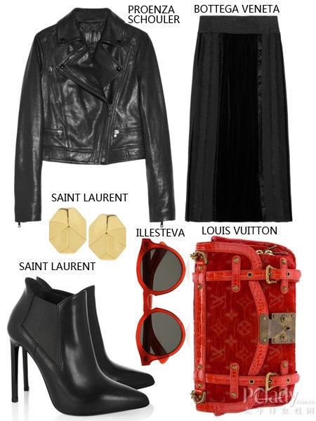 黑色机车外套+踝半身长裙+踝短靴+红色手包