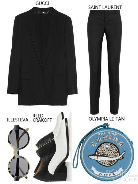 黑色西装+黑色裤装+复古遮阳镜+拼色短靴