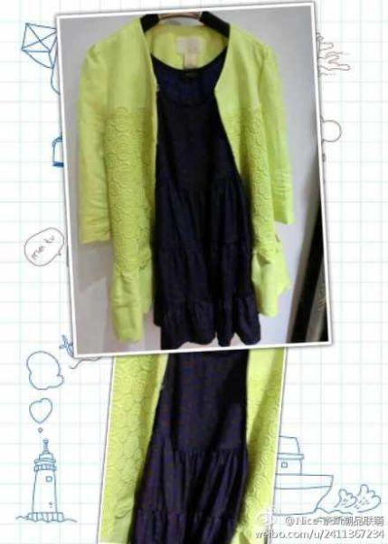柠檬黄蕾丝裙摆外套