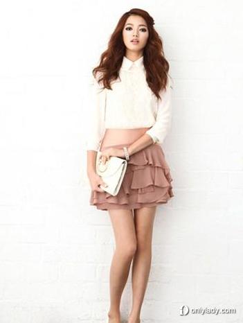 双层雪纺高腰短裙