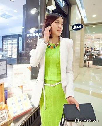 糖果色麻花针织裙