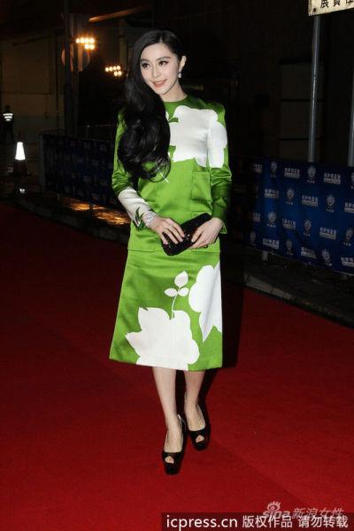LV绿色缎面印花裙