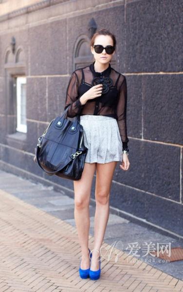 透视衬衫+短裤