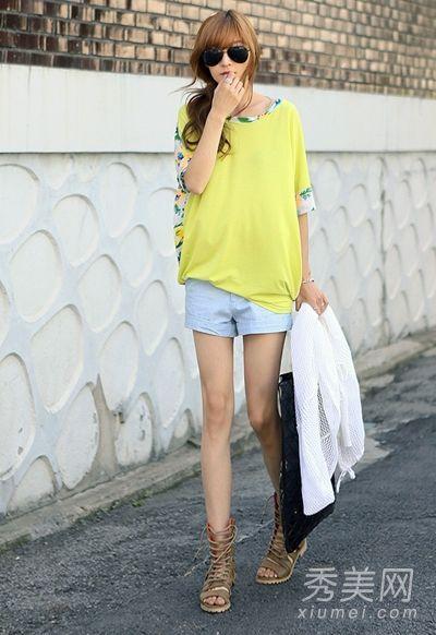 黄色拼接宽松T恤