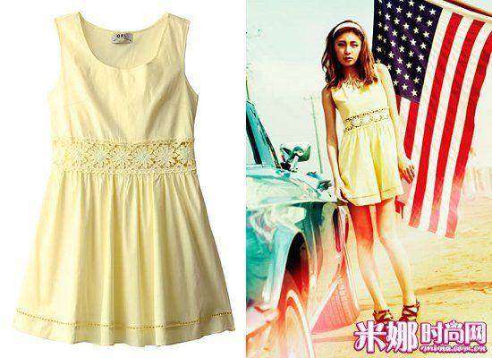 柠檬黄连衣裙