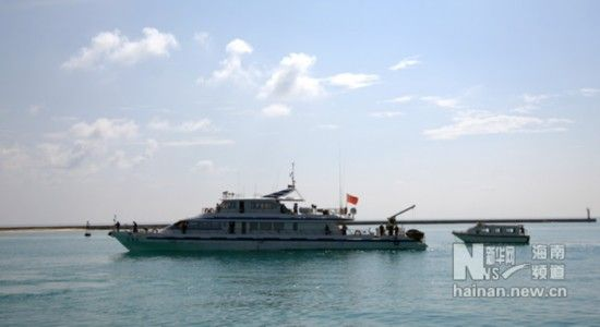 """5月30日15时许,三沙市""""甘泉岛""""岛际交通艇安全返回永兴岛码头。"""