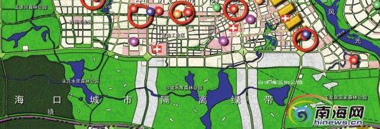 海口白水塘湿地公园、沙坡水库森林公园、五源河森林公园、永庄水库森林公园、玉龙泉国家森林公园分布图。(资料图)