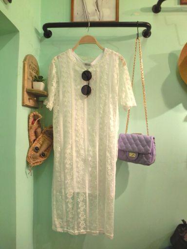 森女范白色连衣裙