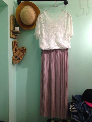 芋粉色长裙仙气十足