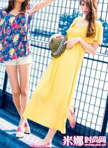 糖果色棉质长裙