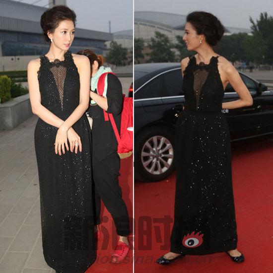 黑色纱质晚礼服