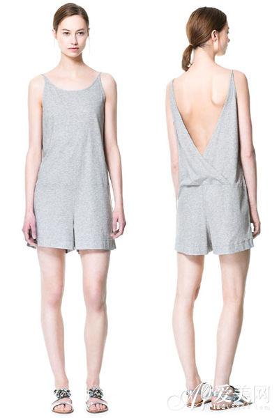 灰色棉质露背吊带连体裤 ZARA