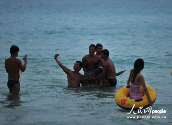 2013年6月16日傍晚,海南省三亚市,大东海海面上,众人将已经奄奄一息的海豚抬出水面拍照。