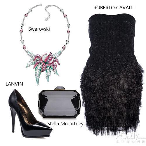 搭配解读:华丽项链+黑色礼裙