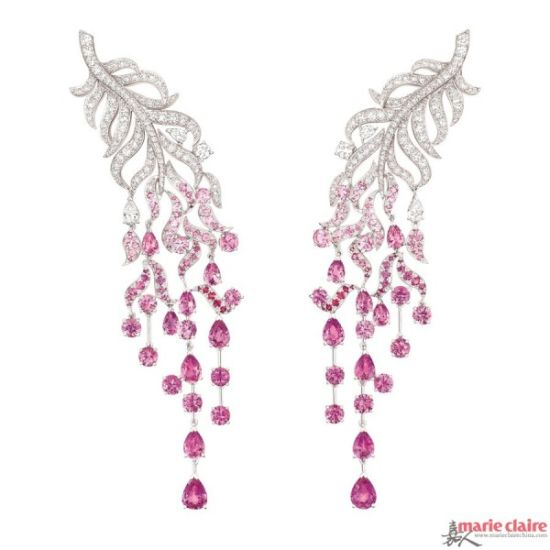 推荐珠宝:Chanel 'Plume enchante?e' 羽毛钻石耳环