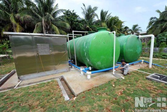 这是三沙市永兴岛污水处理厂一期工程(7月7日摄)