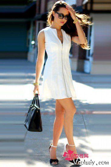 白色深V伞裙