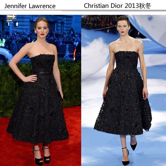 Jennifer Lawrence 身穿Christian Dior 2013秋冬黑色蕾丝抹胸裙
