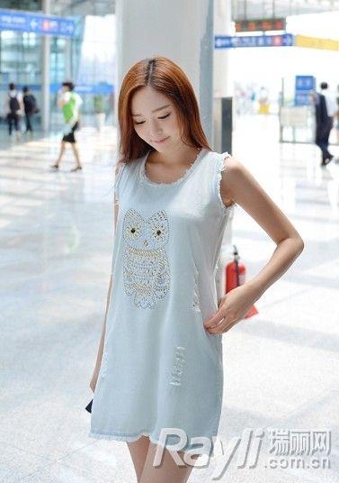 白色毛边猫头鹰图案连衣裙