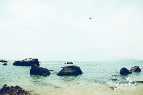 大海,礁石,飞机