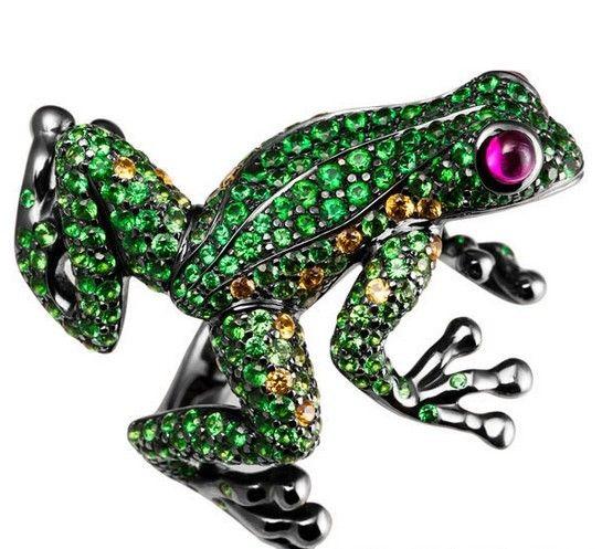 Asulikeit高级珠宝自然主义系列青蛙戒指