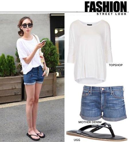 允儿私服街拍,这样的搭配时最常见的牛仔短裤搭配白色T恤,衣服太阳镜,非常清纯。