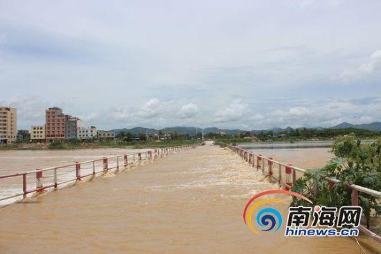 大水冲过水中桥。南海网记者 马伟元 摄