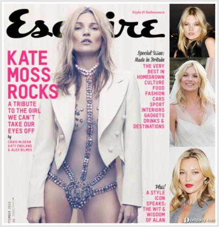 Kate Moss登男性杂志封面