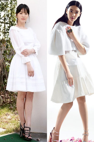 白色伞裙装