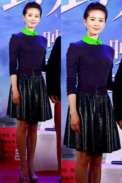 秋装高腰裙造型搭配示范5:刘诗诗