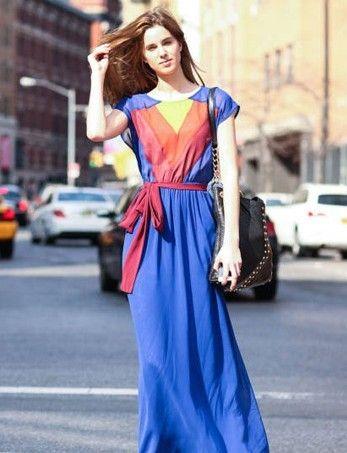 长度及地的连衣长裙