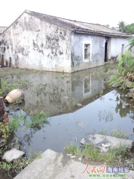 a 路面低洼_海口一排水沟恶意被堵 十几户村民房被水淹_新浪海南资讯_新浪海南