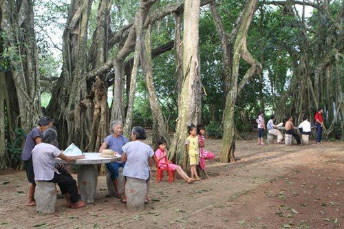 松梅村里乘凉的老人和孩子.