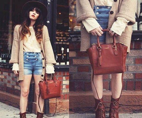 搭配推荐:长款毛衣外套+高腰短裤