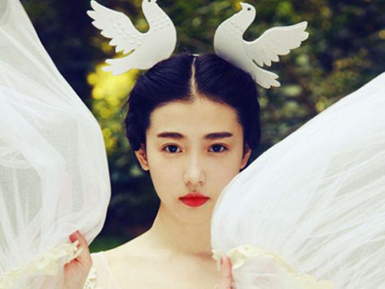 张辛苑仙气田园写真白衣梦幻唯美