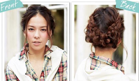 可爱的花篮盘发