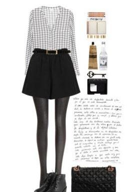 条纹衬衫+短裤这款格子衬衫