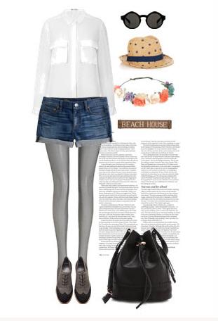 白色衬衫+牛仔短裤