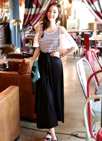 黑色休闲半身长裙